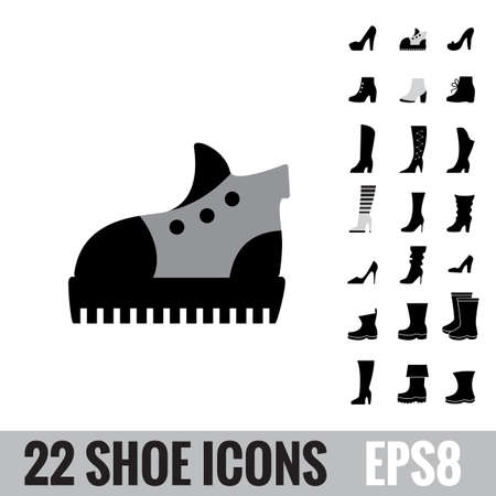 Shoes vector icon collection. Winter boots logo isolated. Footwear signs or symbols