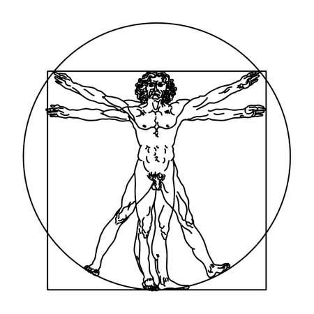 Stylized sketch of the Vitruvian man or Leonardo's man. Homo vitruviano vector illustration based on Leonardo da Vinci artwork
