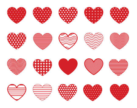 Illustration for Heart symbol icons with lines, dots and stars patterns. Red vector hearts shapes - Royalty Free Image