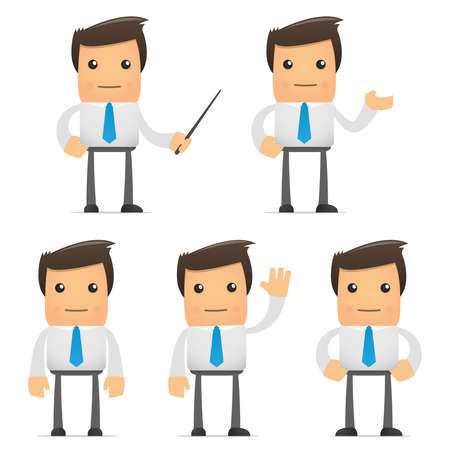 Illustration pour set of funny cartoon office worker in various poses for use in presentations, etc. - image libre de droit
