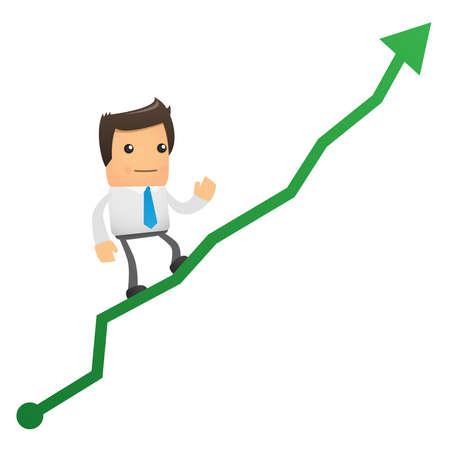 illustration of cartoon office worker climbs up chart