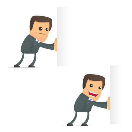 funny cartoon businessman pushes an empty block