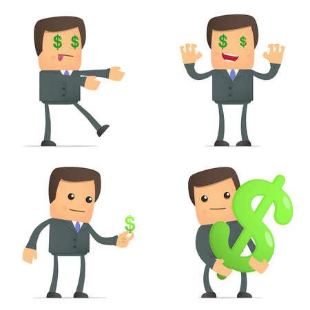 funny cartoon businessman loves money