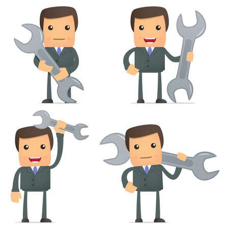 Illustration pour funny cartoon businessman with a spanner - image libre de droit
