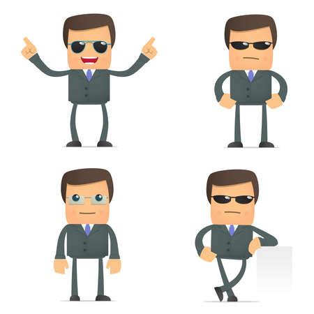 funny cartoon businessman in glasses