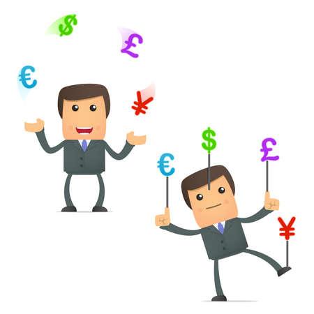 funny cartoon businessman juggling currency