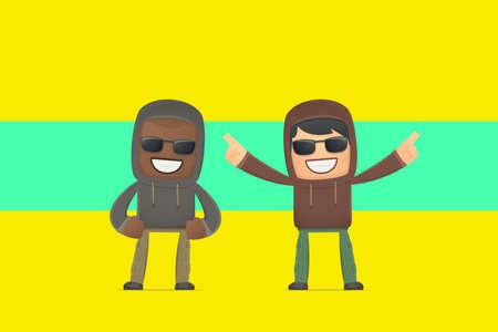 aggressive street hooligans. conceptual illustration