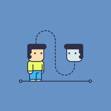 self talk. Conceptual illustration. line art style