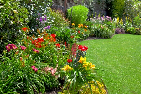 Green lawn in a colorful landscape formal garden. Beautiful Garden.