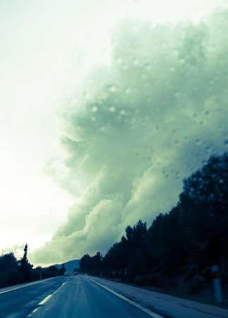 Dramatic cloud bringing torrential rains in Majorca in November.