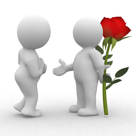 People 3d picto flower love
