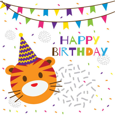 Illustration for happy birthday text with cute tiger head - Royalty Free Image