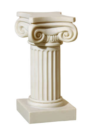 Statue of columns in Greek style, a modern copy of plaster. Isolated background