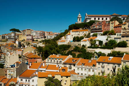 Cityscape in Lisbon, Portugal. On a clear sunny day.