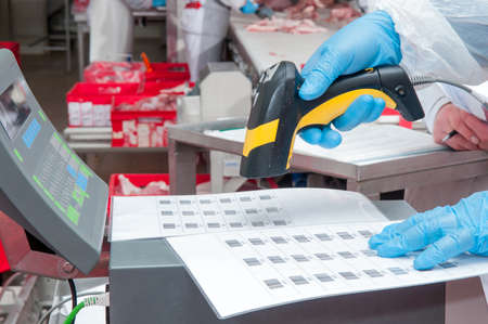 assignment of goods barcode at the factory meat