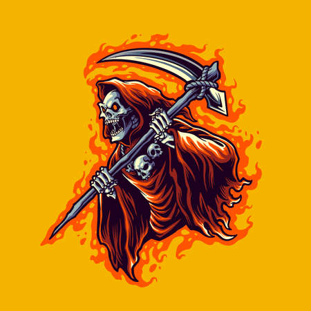 Illustration pour illustration grim reaper cartoon vector for merchandise sticker and clothing line brands - image libre de droit