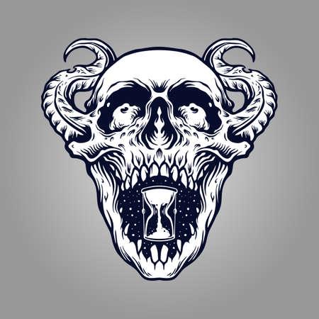 Illustration pour Demon Skull Zombie Tattto and merchandise clothing Line and stickers mascot. - image libre de droit