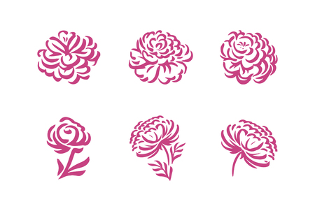 Illustration pour Vector silhouettes of hand drawn peony flowers isolated on white background illustration - image libre de droit