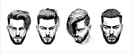 Illustration pour Vector hand drawn man hairstyle silhouettes illustration - image libre de droit