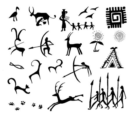 Illustration pour Set of vector stone age rock drawings ancient art illustration - image libre de droit