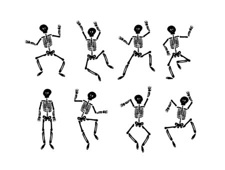 Illustration pour Vector hand drawn illustration concept of Dancing happy halloween skeleton - image libre de droit