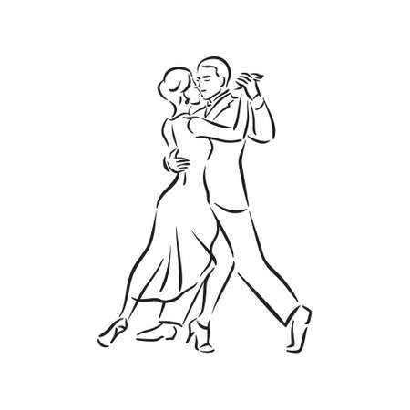 Illustration for Argentine tango and salsa romance couple social pair dance illustration - Royalty Free Image