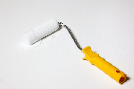 home decorator white painting with paint roller