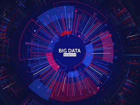 Ilustración de Big data connection structure. Abstract element with lines, dots and binary code. Big data visualization. Futuristic infographic vector illustration. - Imagen libre de derechos