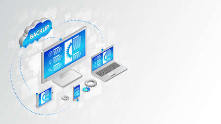 Illustration pour Copying and saving data to a computer, laptop, smartphone, tablet. Database synchronize Technology. Backup design concept. Cloud service vector illustration. - image libre de droit