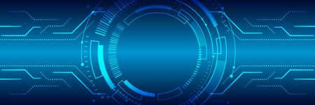 Photo pour Hi tech circuit board design innovation concept. Abstract futuristic wide communication vector illustration. Sci fi technology on the blue background. - image libre de droit