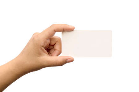 Photo pour Female hand with a blank card isolated on white background with clipping path. - image libre de droit