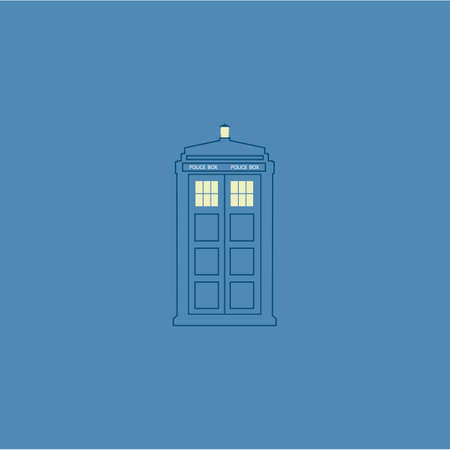 vector illustration of british police box on baclground
