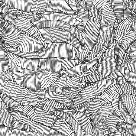 Illustration pour Seamless hand drawn pattern with banana leaves tropical leaves texture botanic vector hand drawn illustration - image libre de droit