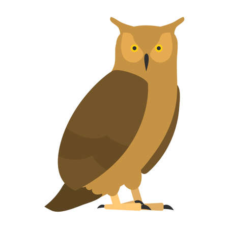 Ilustración de flat bird isolated on white background, beautiful illustration long-eared owl - Imagen libre de derechos