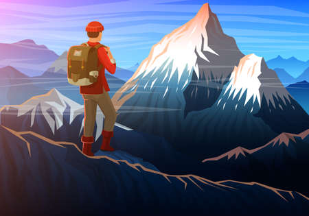 Illustration pour Mountain everest with tourist, Evening panoramic view of peaks, landscape early in a daylight. travel or camping, climbing. Outdoor hill tops national park, Khumbu valley, Nepal - image libre de droit