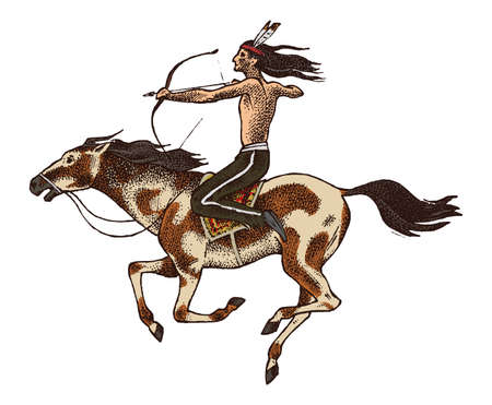 Illustration pour National American Indian riding horse with spear in hand. traditional man. engraved hand drawn in old sketch. - image libre de droit