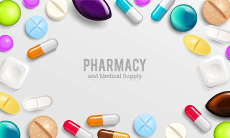 Illustration pour Pills background vitamin tablets for good health and antibiotic medications. Poster banner for web site. Pharmacy, painkiller capsules and medical drug. - image libre de droit