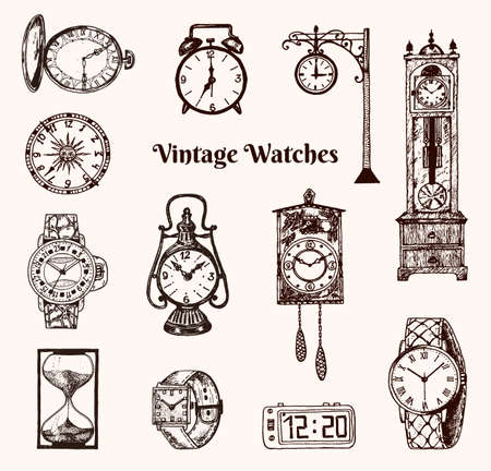 Illustration pour Vintage classic pocket watch, alarm clock, hourglass and dial showing time. Ancient collection elements. Engraved hand drawn old monochrome sketch - image libre de droit