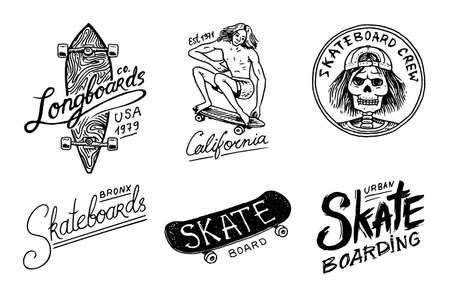 Illustration for Set of Skateboarding labels logo. Vector illustration with Skeleton for skater. Urban design for badges, emblems t-shirt typography. engraved hand drawn sketch in monochrome vintage style. - Royalty Free Image