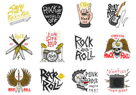 Illustration pour Set of Rock and Roll music symbols with Guitar Wings Skull, Drums Plectrum. labels, logos. Heavy metal templates for design t-shirt, night party and festival. Hand drawn. Engraved sketch. - image libre de droit