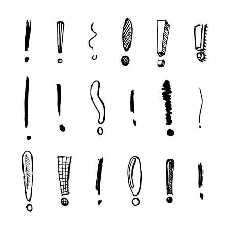 Exclamation mark Seamless pattern.. Doodle style. Collection of icons and signs Why. Engraved hand drawn sketch. Abstract vector.