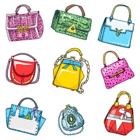 Illustration pour Women s bags. Vintage style. Hand drawn doodle fashion accessories. Set of Patch and Pins. - image libre de droit