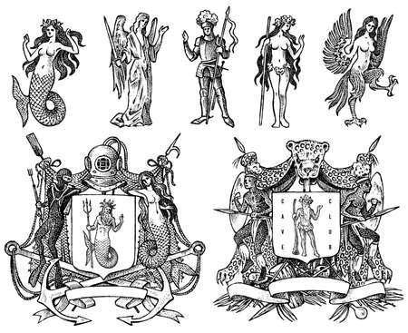 Illustration pour Heraldry in vintage style. Engraved coat of arms with animals, birds, mythical creatures, fish, dragon, unicorn, lion. - image libre de droit