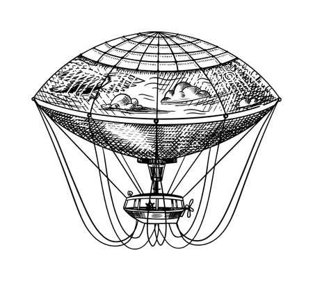 Foto für Vintage Hot Air Balloon. Vector retro flying airship with decorative elements. Template transport for Romantic  Hand drawn Engraved sketch. - Lizenzfreies Bild