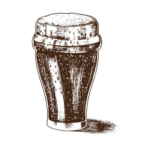 Illustration pour A glass of beer with foam. Bavarian Alcoholic Drink in vintage retro style. Hand-drawn sketch for a bar menu, stripes on a T-shirt or labels. - image libre de droit