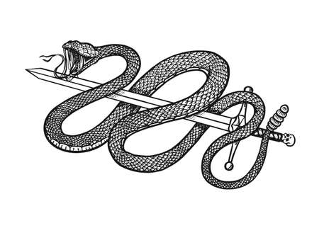 Illustration pour Snake with a sword in Vintage style. Serpent cobra or python or poisonous viper. Engraved hand drawn old reptile sketch for Tattoo. Anaconda for sticker or logo or t-shirts. - image libre de droit