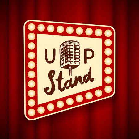 Illustration for Lettering Stand Up. Calligraphic text comedy show. Engraved hand drawn in old vintage sketch for poster, web badge, label, emblem or logo. Concept on stage. Vector illustration. - Royalty Free Image