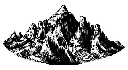 Illustration pour Alps Mountains. Chamonix-Mont-Blanc peaks. Vintage rock, old highlands range. Hand drawn vector outdoor sketch in engraved style. Hiking card, climbing banner, tattoo or label - image libre de droit