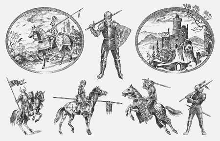 Illustration pour Medieval armed knight in armor and on a horse. Historical ancient military characters set. Cavalier with a spear and a flag. Ancient fighters. Vintage vector sketch. Engraved hand drawn illustration. - image libre de droit