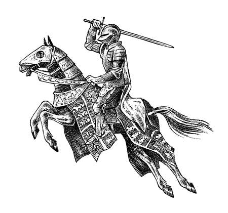 Illustration pour Medieval armed knight riding a horse. Historical ancient military character. Prince with a sword and shield. Ancient fighter. Vintage vector sketch. Engraved hand drawn illustration. - image libre de droit